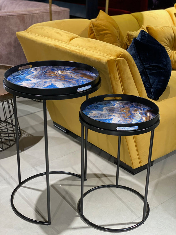 Marble Effect Nesting Tray Tables (set of 2) | Blue and Black