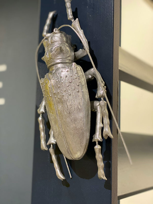 Large Titan Beetle Wall Decor | Silver