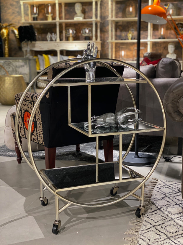 Antique Silver/Champagne Leaf Metal Bar Trolley with Mirror Shelves