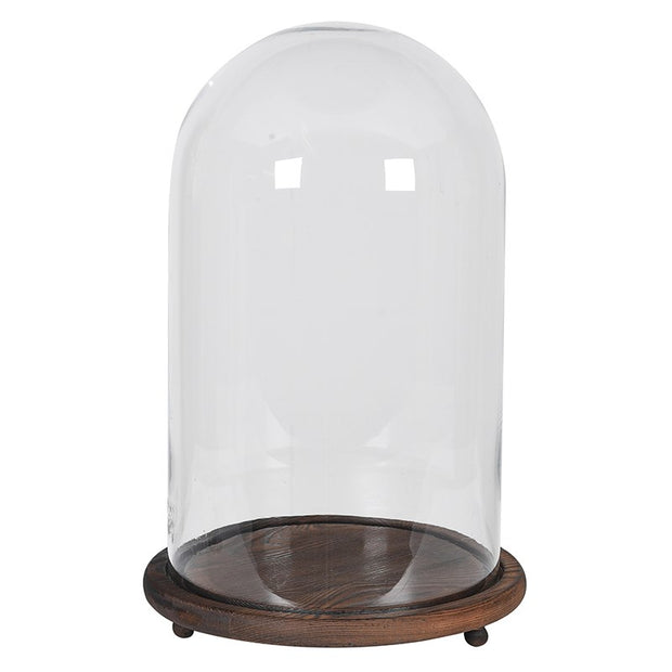 Wide Wood Base Glass Dome