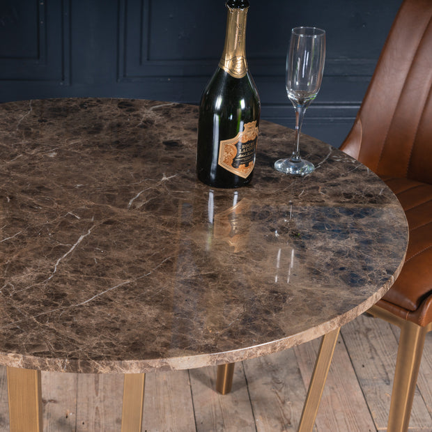 Dante Bruno Marble Dining Table | 90 x 90cm