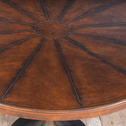 Hobnail Leather Effect Round Dining Table | 100x 100cm