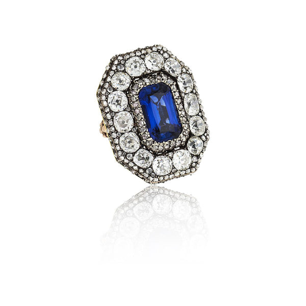 Vintage Gold Silver Sapphire & Diamond Ring