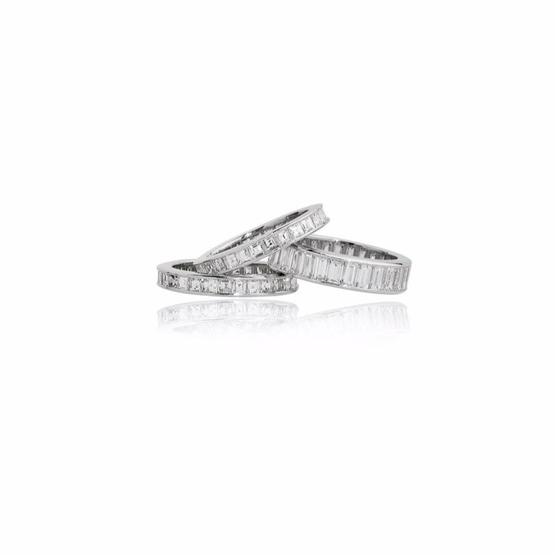 Stephen Russell Set of 3 Platinum & Diamond Bands