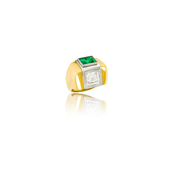 Gold Colombian Emerald & Diamond Ring