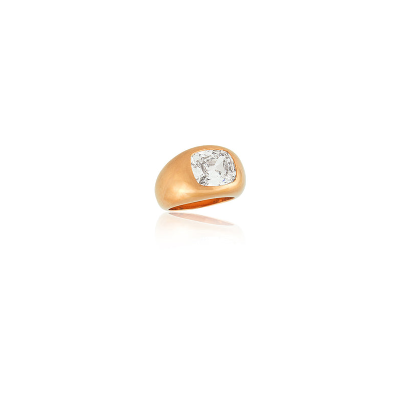 Stephen Russell 20K French Rose Gold & Cushion Cut Diamond Gypsy Ring