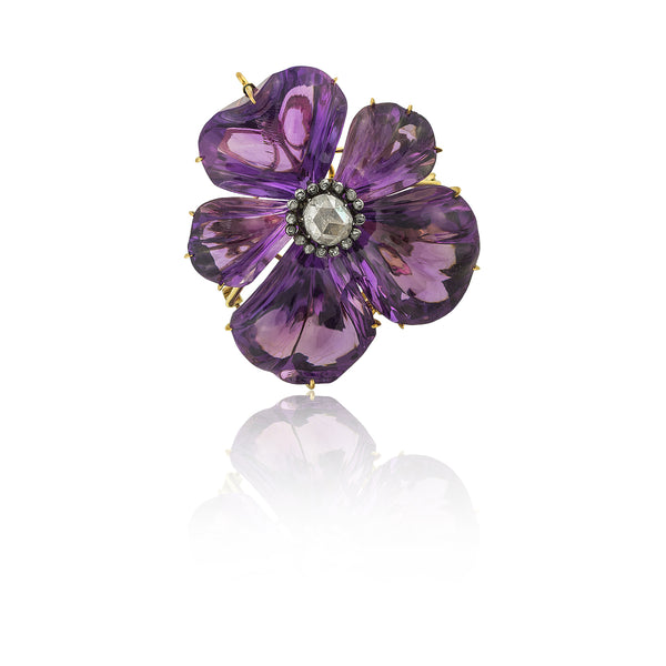 Carved Amethyst  and Diamond Pansy Brooch