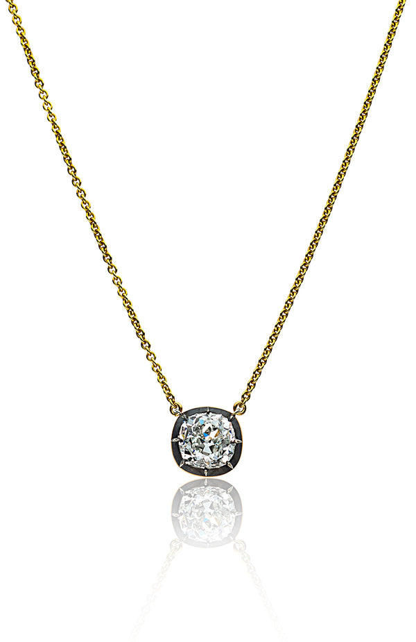 Stephen Russell Silver 18K Gold & Old Mine Cushion Cut Diamond Pendant