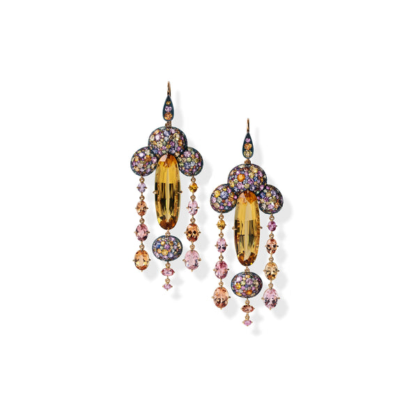 David Michael Gold Silver Yellow Beryl and Gemset Earrings