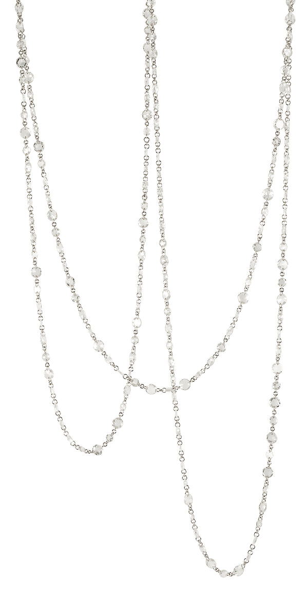 Stephen Russell 18K White Gold & Rose Cut Diamond Necklace