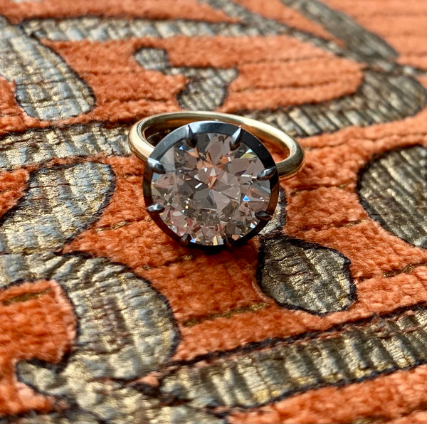 Stephen Russell Silver Gold & Old European Cut Diamond Ring
