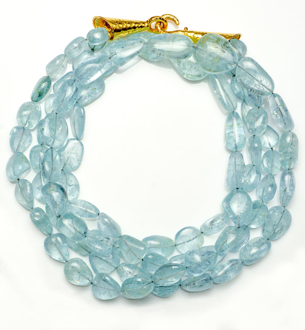 18K Yellow Gold Clasp & Aquamarine Twisted Bead Necklace