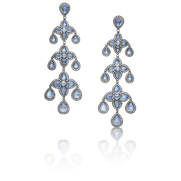 Stephen Russell Moonstone and Diamond Earrings
