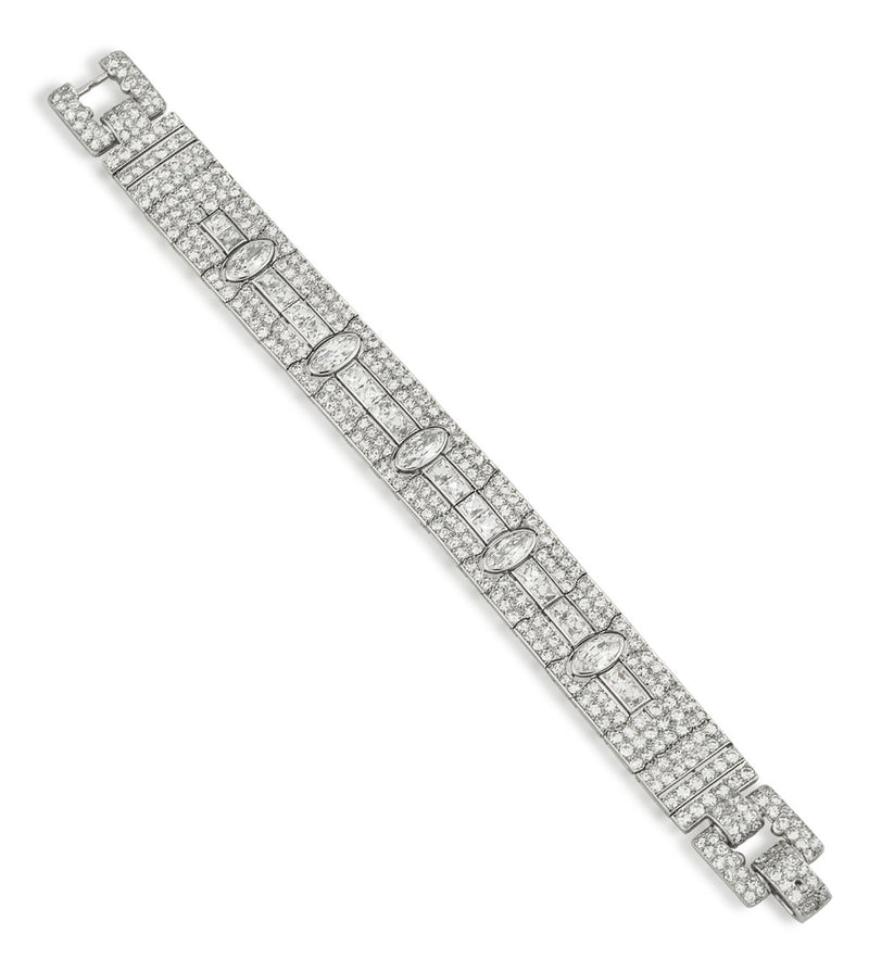 Marzo Platinum & Diamond Art Deco Bracelet