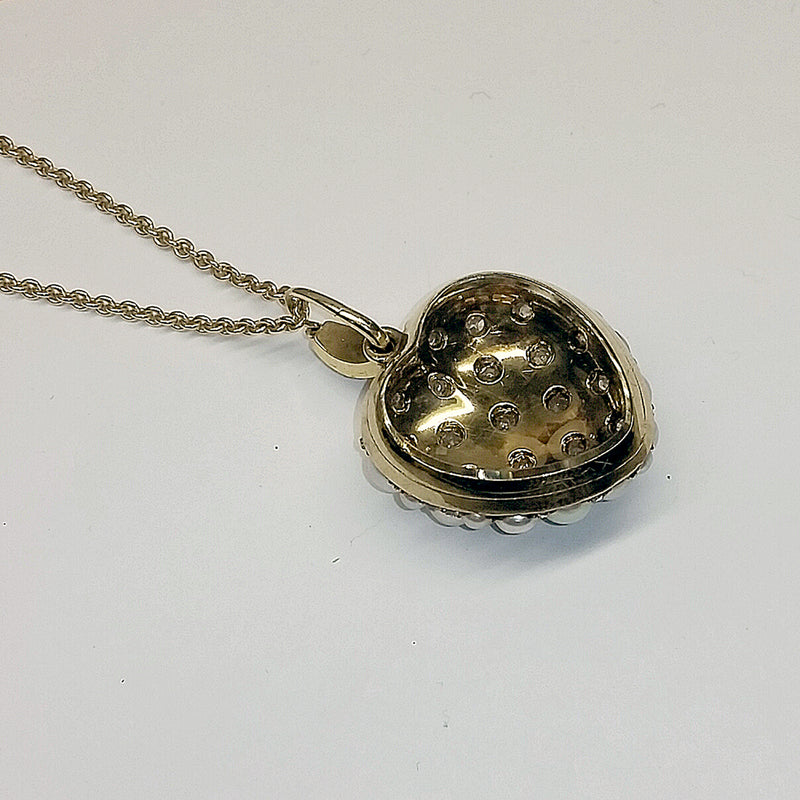 Antique Diamond & Pearl Heart Locket