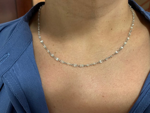 Stephen Russell 18K White Gold & Briolette Diamond Necklace