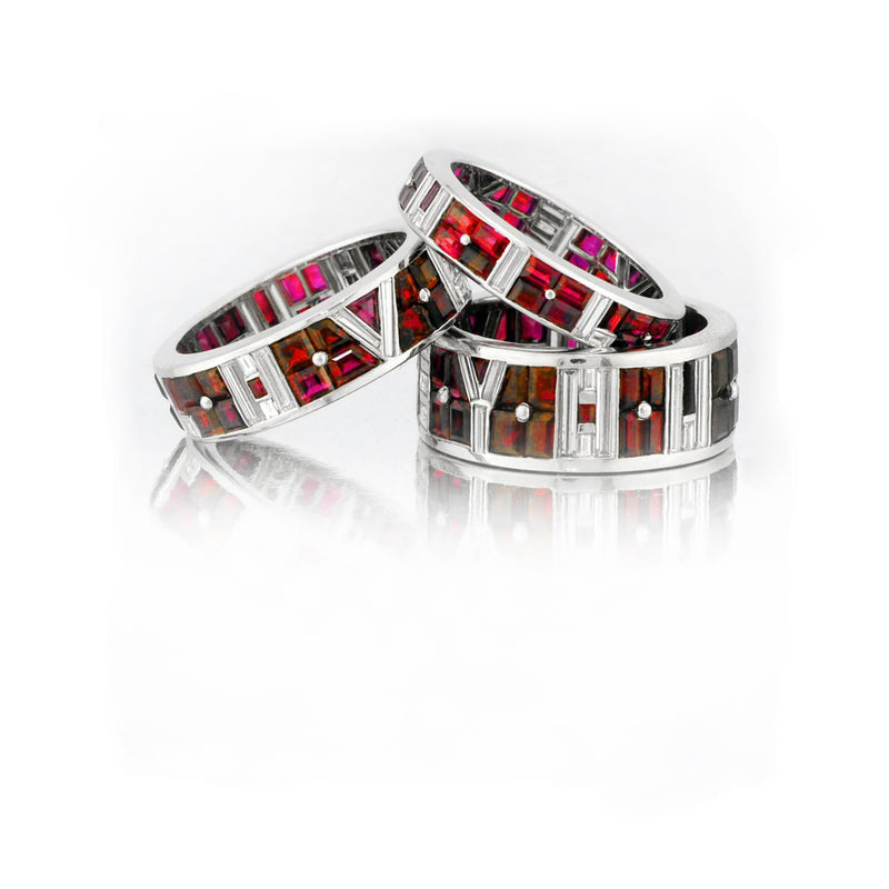 "Stephen Russell ""I Love You"" Ruby & Diamond Band Ring"