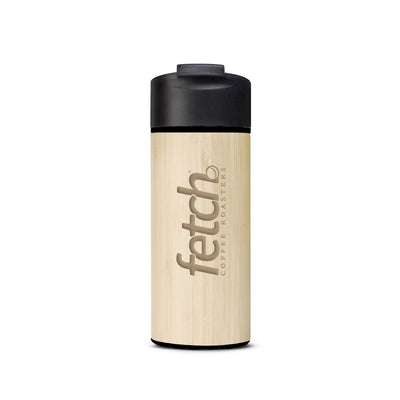 Fetch Coffee travel mugs are double wall insulated and wrapped in bamboo for a beautiful finish. Manufactured by Welly Bottle