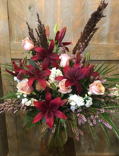Peaceful Burgundy Flower Bouquet