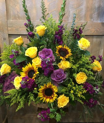 Purple & Yellow Flower Bouquet