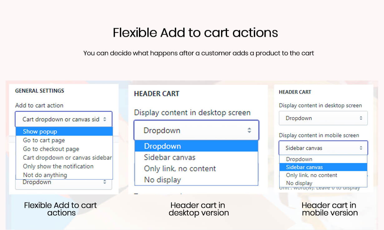 Specify the actions after a customer adds a product to the cart