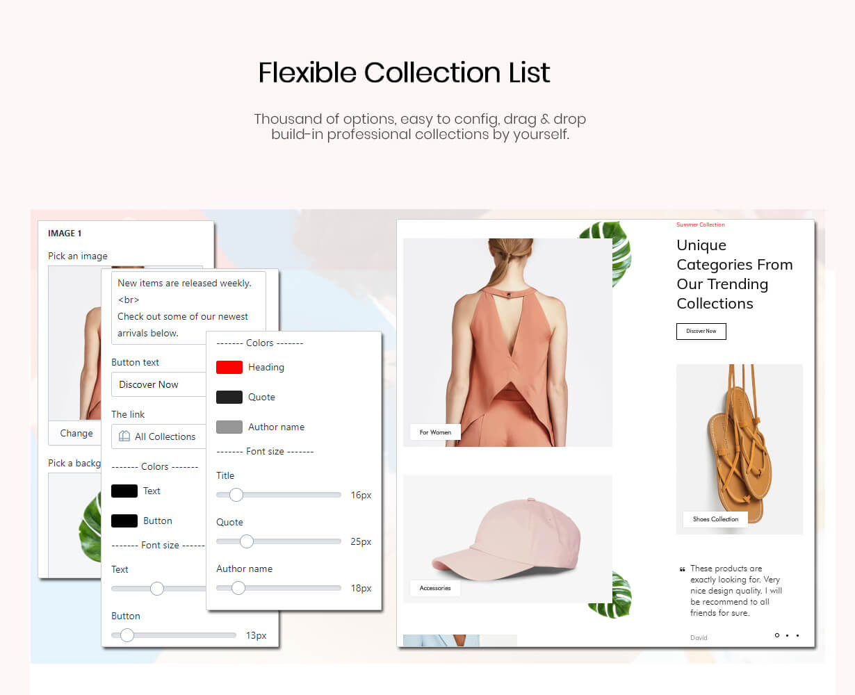 Flexible collection list section