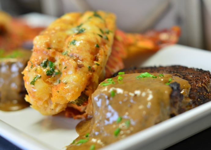 2-8oz Pan Seared Beef Tenderloin Steak w/ Garlic Mustard Sauce on the side & 2- 4oz Lobster Tails w/Drawn Butter (Serves 2)