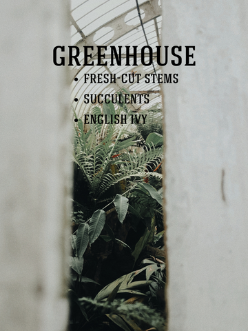 Greenhouse Soy Candle: Fresh-Cut Stems, Succulents, English Ivy