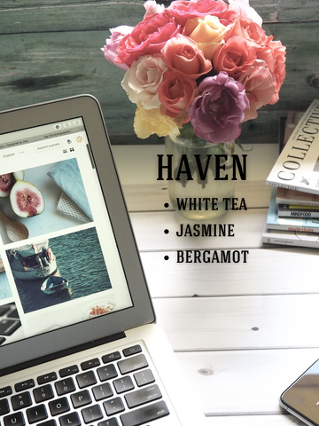 Haven Soy Candle: White Tea, Jasmine, Bergamot