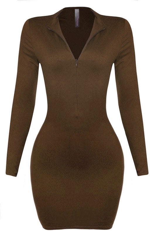 Brown fitted mini dress