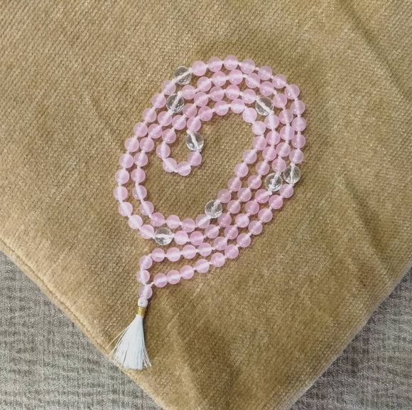 Natural Rose Quartz Hi-Vibration Kriya Mala Rosary 108 Beads