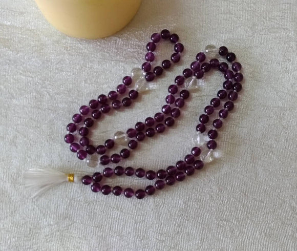 Natural Amethyst, Hi-Vibration Kriya Mala Rosary 108 Beads, Natural Quartz counters