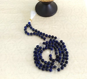 Natural Lapis Lazuli Hi-Vibration Kriya Mala Rosary 108 Beads-Quartz counters