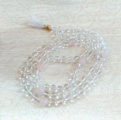 Natural Quartz Crystal, Faceted, Hi-Vibration Kriya Mala Rosary, 108 Beads, Rose Quartz counters
