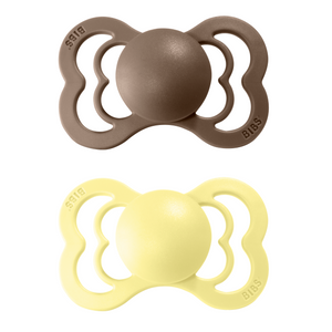 2-pack Bibs supreme pacifier silicone +6M dark oak + sunshine