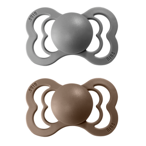 2-pack Bibs supreme pacifier silicone +6M smoke + dark oak