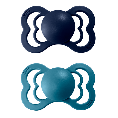 2-pack Bibs supreme pacifier silicone +6M deep space + dark teal