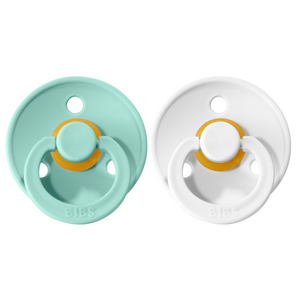 Bibs pacifier +18M 2-pack mint + white