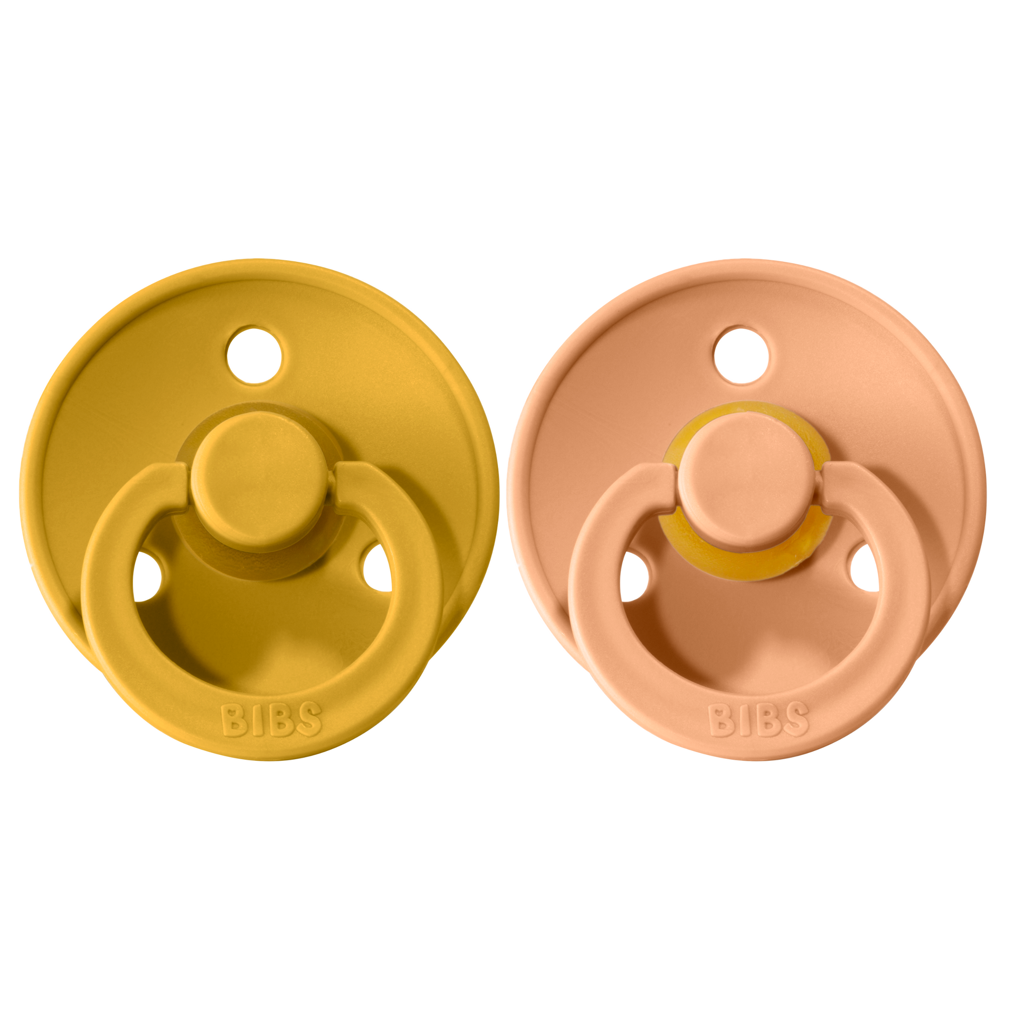 Bibs pacifier +18M 2-pack mustard + peach