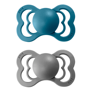 2-pack Bibs supreme pacifier silicone +6M dark teal + smoke