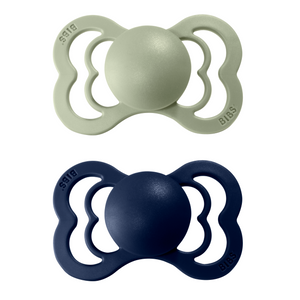 2-pack Bibs supreme pacifier silicone +6M sage + deep space
