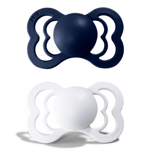2-pack Bibs supreme pacifier silicone +6M white + deep space