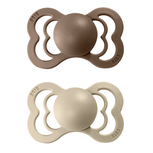 2-pack Bibs supreme pacifier silicone +6M sand + dark oak