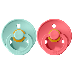 Bibs pacifier 0-6 M 2-pack mint + coral