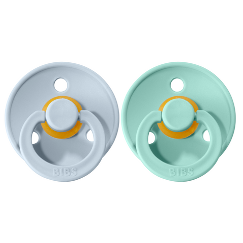 Bibs pacifier 0-6 M 2-pack mint + baby blue