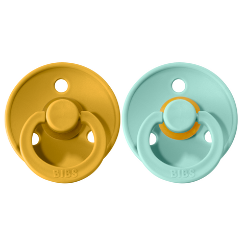 Bibs pacifier 0-6 M 2-pack mint + mustard