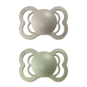 2-pack Bibs supreme pacifier silicone 0-6 M ivory + sand