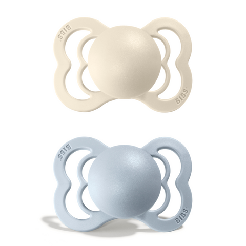 2-pack Bibs supreme pacifier silicone 0-6 M ivory + baby blue