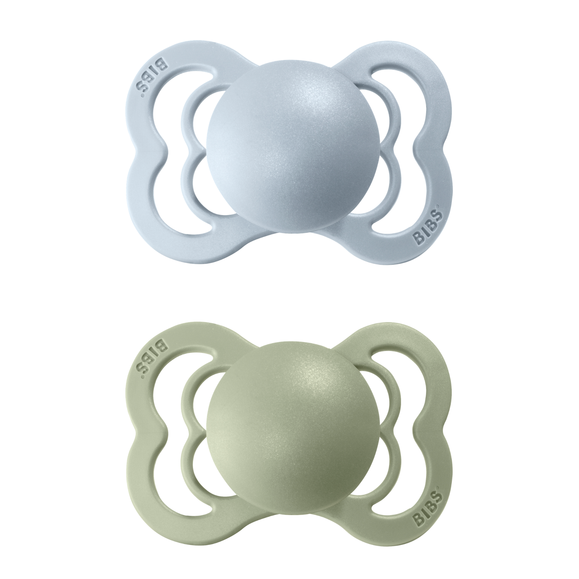 2-pack Bibs supreme pacifier silicone 0-6 M sage + baby blue