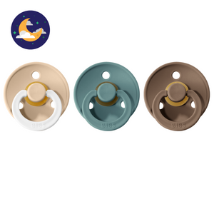 3-pack 0-6M pacifiers vanilla night glow in the dark + island sea + dark oak